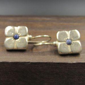 Sterling Flower Lapis Lazuli Dangle Earrings